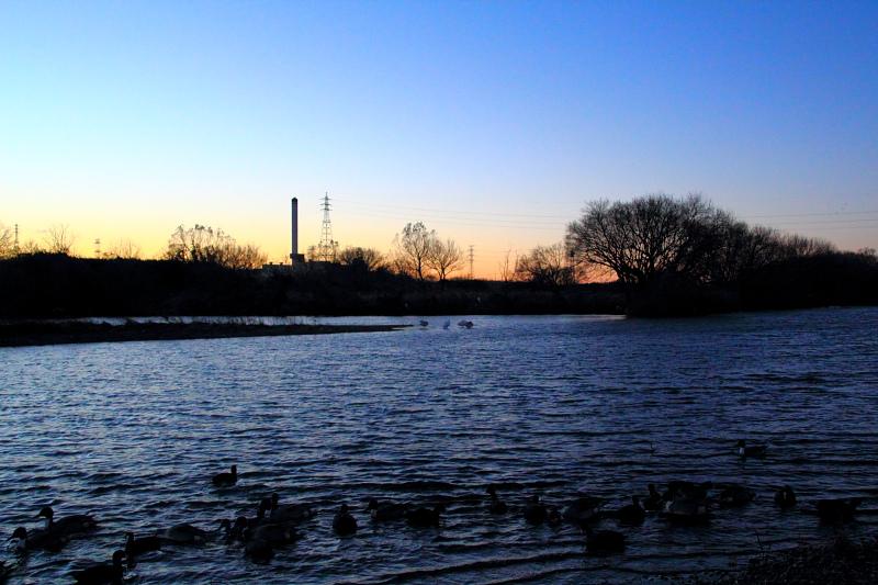 夕暮れの越辺川